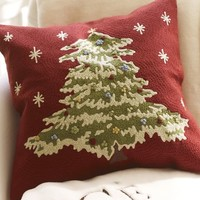 Christmas Tree Crewel Embroidered Pillow Cover