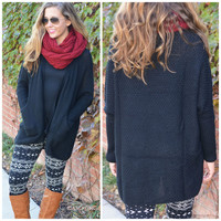 One Of A Kind Black Knit Open Cardigan