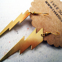 High Voltage Earrings - Thunderbolt Lightning Long Gold Dangle Earrings - Summer Storm Earrings
