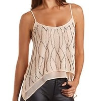 Beaded Chiffon Trapeze Tank Top by Charlotte Russe - Pearl Blush