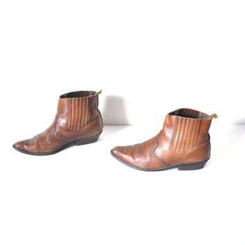 size 7.5 southwestern CHELSEA boots / vintage 80s POINTY brown leather slip on ANKLE cowboy booties