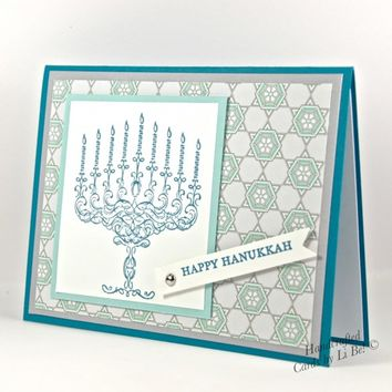Fancy Styled Happy Hanukkah Menorah Handmade Greeting Card Blue White