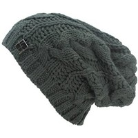 Luxury Divas Charcoal Grey Oversized Slouchy Cable Knit Unisex Beanie Cap Hat