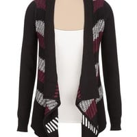 burgundy striped open front cardigan