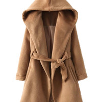 Brown Long Sleeve Hooded Coat With Belt