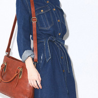 Blue Belted Long Sleeve Shirt Dress