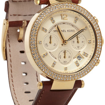 Michael Kors|Leather, stainless steel and crystal chronograph watch|NET-A-PORTER.COM