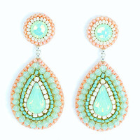 Mint peach chandelier earrings