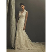 Romantic Lace Appliqué Sheath Vintage Wedding Dresses Cap Sleeves  - Star Bridal Apparel