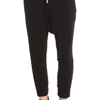 BLACK FRENCH TERRY HAREM SWEATPANTS