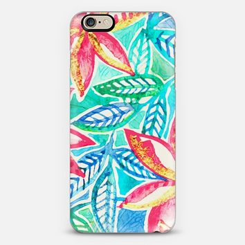 Turquoise, Pink & Aqua Tropical Floral Painting iPhone 6 case by Micklyn Le Feuvre | Casetify