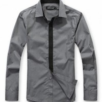 New Men Hot Decorate Tie Long Sleeve Casual Cotton Dark Grey Shirt M/L/XL/XXL@dat312dg