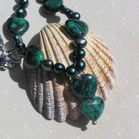 Teal Jasper, Freshwater Pearl &amp; Apatite Gemstone Crystal Necklace - &quot;Sea Thistle&quot;