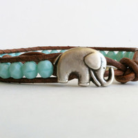 Elephant Bracelet, Good Luck Elephant, Turquoise Czech Glass Beads, Chan Luu Style
