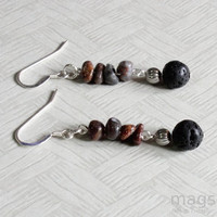 Lava Rock and Jasper Dangle Silver Earrings