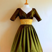 Olive Green & Gold Pure Silk Taft Promdress