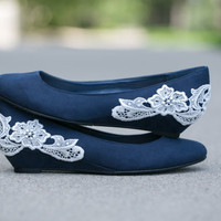 Navy blue ballet flat/low wedge wedding shoes with ivory lace applique. Size 8