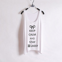 Keep Calm and Stay Classy - Women Tank Top - White - Sides Straight