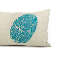 Decorative throw pillow cover - Teal blue fingerprint on natural beige cotton canvas pillow case - 12x18 lumbar pillow cover