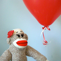 Organic Sock Monkey Doll - Organic Cotton Fill, Eco-Friendly, Handmade, Children&#x27;s Toy, Stuffed Animal, Girl