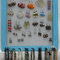JEWELRY DISPLAY ORGANIZER turquoise Shabby Chic / 50 - 80 Earrings / 32 - 48 Necklaces