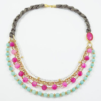 Turkish layered bead and silk necklace  - Pink Agate, Turquoise Jade, faceted glass crystals - Fashion
