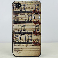 Modern musical symbols  Hard Case Cover for Apple iPhone 4gs Case, iPhone 4s Case, iPhone 4 Hard Case