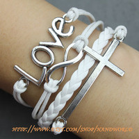 Silvery Love Bracelet Cross Bracelet Infinity Karma Bracelet Wish Bracelet Bangle Cuff Bracelet Gift -N587