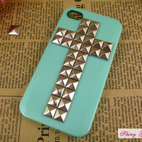 iPhone 4 case, silver cross pyramid studs iPhone 4 case, cross iPhone 4 case-blue