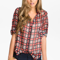 Band of Gypsies Plaid Chiffon Shirt (Juniors) | Nordstrom
