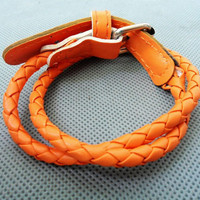 Orange Leather Cotton Ropes Woven Women Leather Jewelry Bangle Cuff Bracelet   1268A