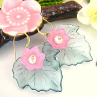 Pink tulip mint green transparent maple resin leaf earrings