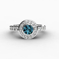 London blue Topaz ring, Engagement ring, Halo, Diamond ring, diamond halo, Topaz, White gold engagement, Bezel, Unique