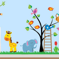 Kids-Rooms-Nursery-Wall-Decal - Jungle animals stickers - Wall Decals , Home WallArt Decals