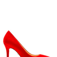 Charlotte Olympia Red Suede Debbie Pumps