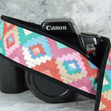 Southwestern Pastel Tribal dSLR Camera Strap, Terracotta, Turquoise, Rose Pink, Blue, SLR,168 ww