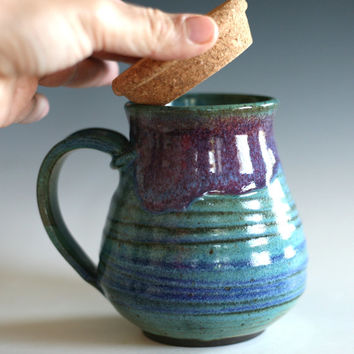 Coffee Mug with Cork Lid, 19 oz, handmade ceramic cup, tea cup, coffee cup
