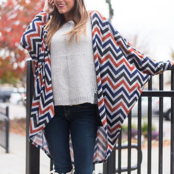 Rise And Fall Cardigan,Navy/Rust