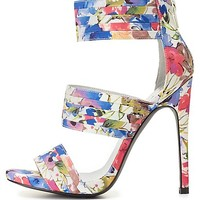 Qupid Floral Print Banded Heels by Charlotte Russe - Multi