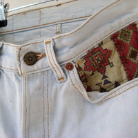 vintage white high waisted tapestry levis cut offs