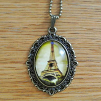 Necklace Copper Eiffel Tower Favors in Brown Background with Chain Necklace  Mother Pendant Necklaces Gift