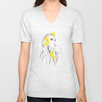 Yellow Unisex V-Neck by EDrawings38