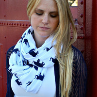 Infinity Scarf, Cotton, Elephants, White, Navy