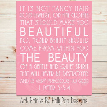 It is not fancy Hair 1 Peter 3 3:4 Art Print Pink Girls Room Wall Decor Nursery Decor Home Decor Art Print Beauty comes from within #0836