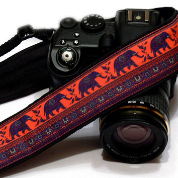 Lucky Elephants Camera Strap,  dSLR Camera Strap, SLR Camera Strap, Black, Purple, Orange Camera Strap. Men, Women Accessories