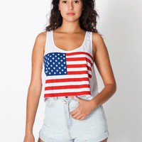 Printed Mid-Length Tank -US Flag | Sleeveless | Women's Crop Tops | American Apparel