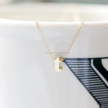 Lowercase Initial Necklace (Gold) - personalized monogram necklace, bridesmaid necklace, gold lowercase initials