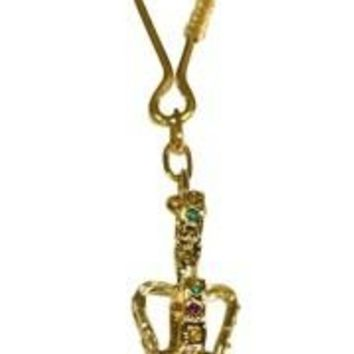 36 mm 3-D Crown Keychain w/ Purple Green Gold Rhinestone