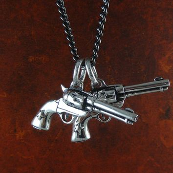 """Guns"" Necklace by Lost Apostle (Antique Silver)"