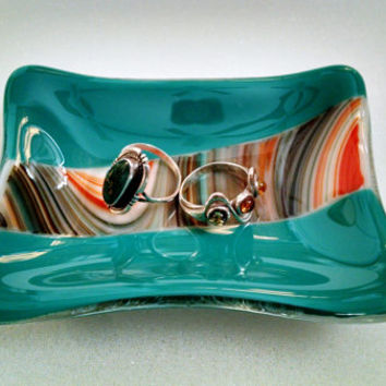 Spoon Rest - Trinket Dish - Tea Bag Rest - Ring Dish - Tea Bag Holder  - Spoon Rest - Sauce Dish - Fused Glass Dish - Southwestern-Turquoise
